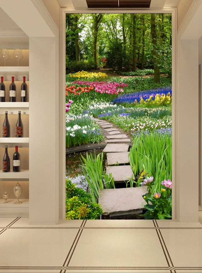 3d room wallpaper custom mural non-woven Wall sticker avenue The tulip corridor porch paintings photo wallpaper for walls 3d 857 seamless nail wedding photo frame wall paintings hook the real invisible