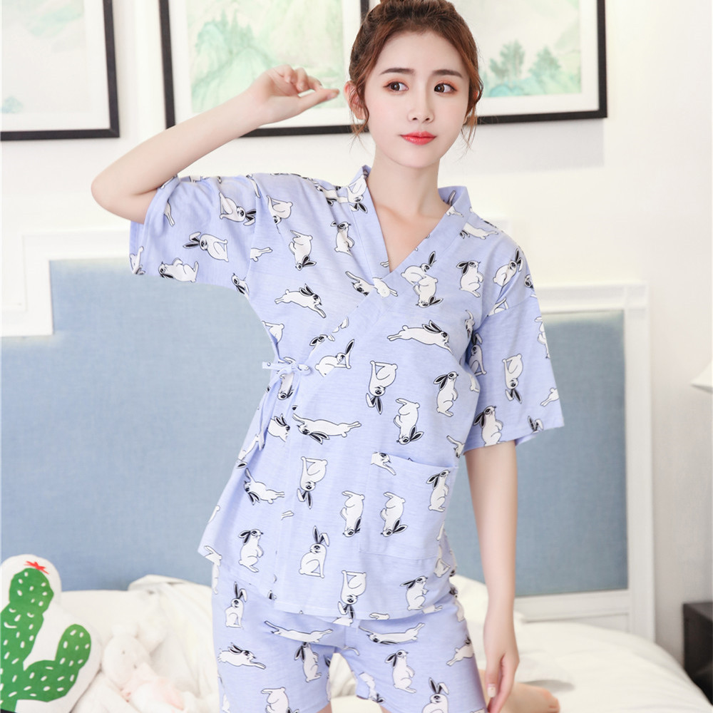Foply 2018 Women   Pajamas     Set   Cartoon Fruit Floral Print kimono   Pajamas   Girl Casual Short Sleeve Shirt Shorts Sleepwear Pyjama