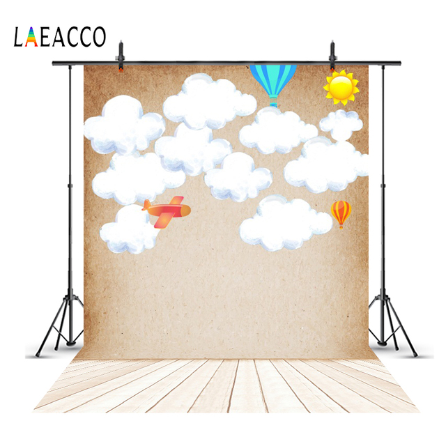 45330eb2da Laeacco Baby Drawing Cloud Wall Hot Air Balloons Wooden Board Pet Baby  Photo Backgrounds Photography Backdrops For Photo Studio