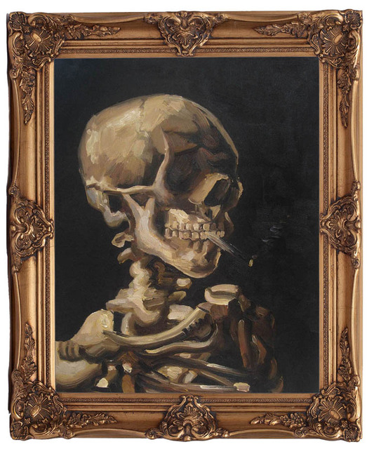 Skull of a Skeleton with Burning Cigarette by Vincent van Gogh ultra giclee home decorating oil paiting reproduction picture