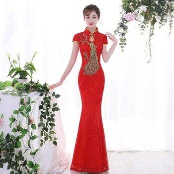 a05f81b69 Novia Cheongsam las mujeres tradicional vestido rojo de boda Sexy Qipao  bordado chino Oriental Vestidos parahombres Vestidos Long Qi Pao
