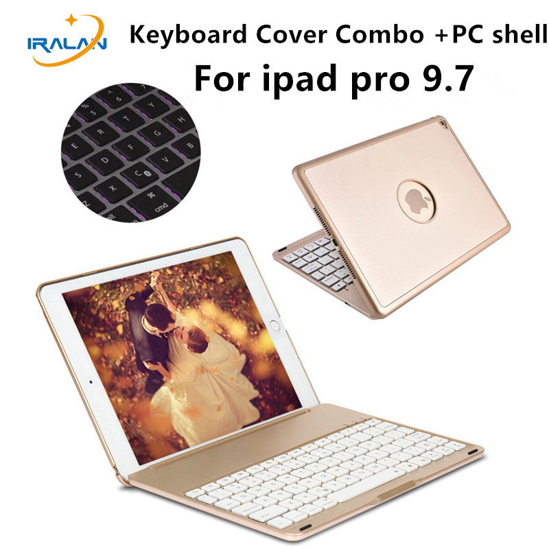 2017 new arrival 7 Colors Backlit Light Wireless Bluetooth Keyboard Case For iPad pro 9.7 Cover + Stylus pen + Film free gift