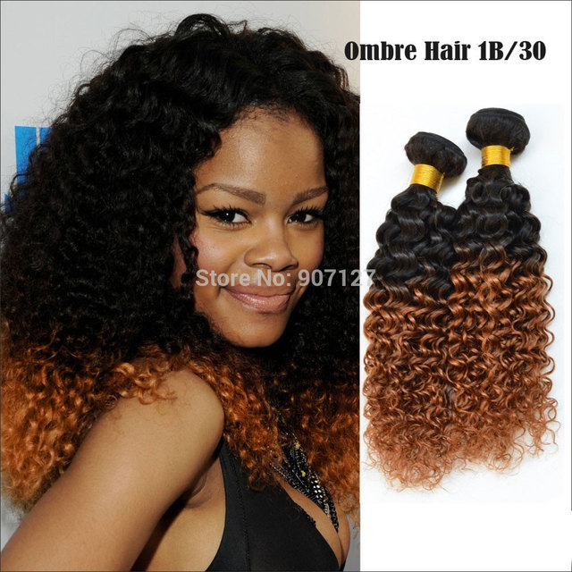 Best 7a Ombre Hair Extensions Brazilian Virgin Hair Kinky Curly Top