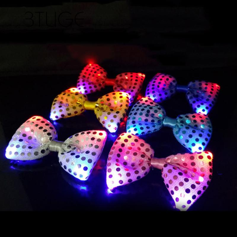 Bow Tie Necktie Lights Sequins Bowtie Wedding Mens 1 Pcs Flashing Led Tie Light Up Wedding Party Accessories Bow Tie Bowties