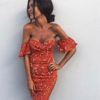 Sexy Strapless Off Shoulder Ladies Bodycon Party Dresses Women Summer 2017 Backless Print Orange Club Bandage
