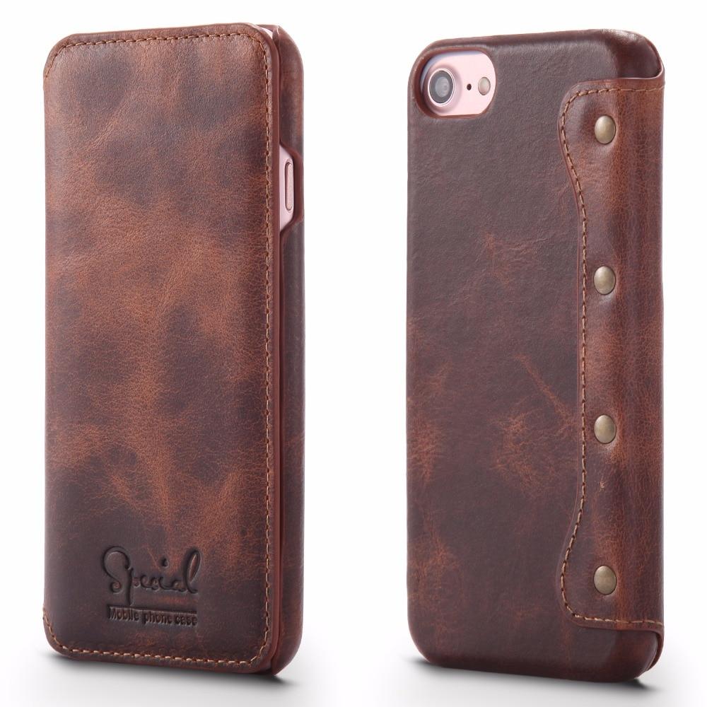 Enkel mode äkta läderfodral för iPhone 8 8 Plus Lyxigt naturligt - Reservdelar och tillbehör för mobiltelefoner