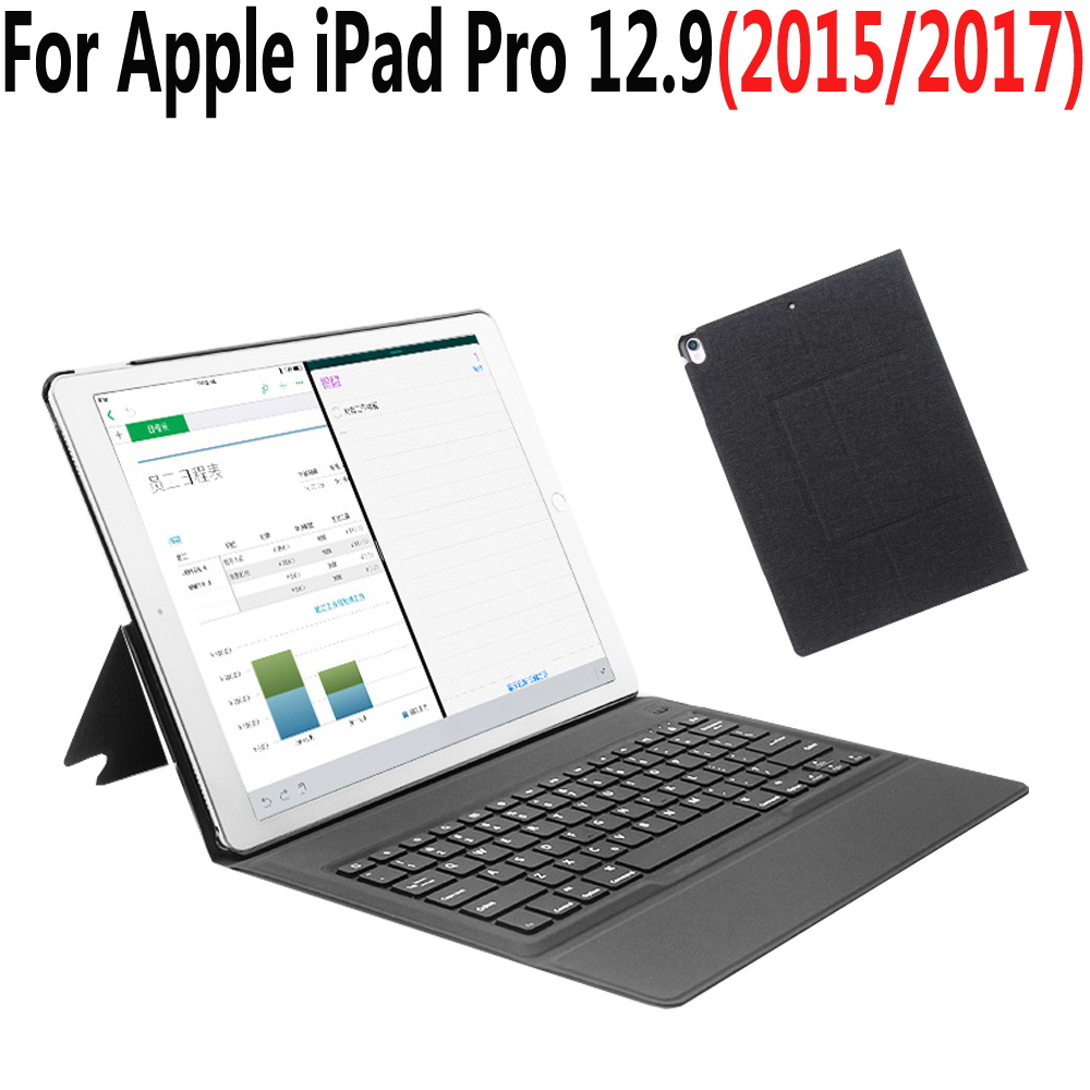 Integrated Slim Wireless Bluetooth Keyboard Case Cover for Apple iPad Pro 12.9 2015 2017 A1584 A1652 A1670 A1671 with Film Pen