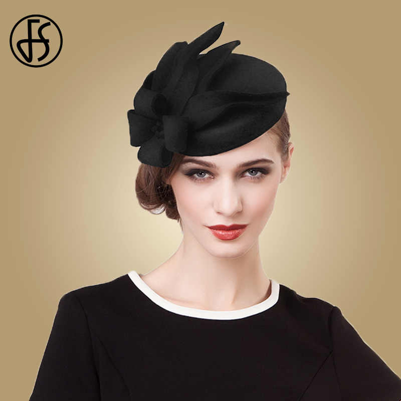 FS Fascinators For Women Royal Wedding Dresses Wool Felt Hats Vintage Black Gray Pillbox Hat Ladies Cocktail Party Floral Fedora