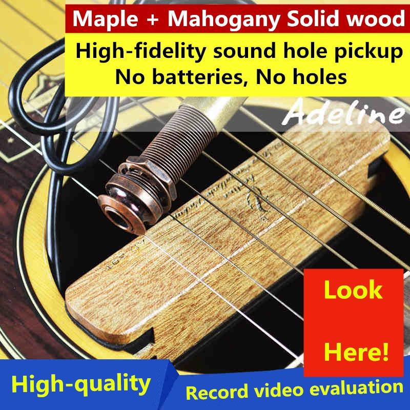 Guitare acoustique classique à cordes d'acier micros à trou de son son haute-fidélité en bois massif sans batterie sans bruit Piezo Guitarra