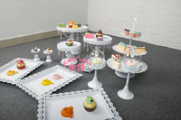 DHL Set of 12 pieces white cake stand wedding cupcake stand set crystal candy bar decoration cake tools bakeware set