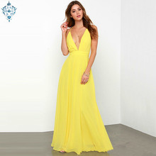 Ameision Fashion Deep V-neck Backless A-line Yellow Sleeveless Sexy Evening Dresses 2019 New Prom Gowns For Women