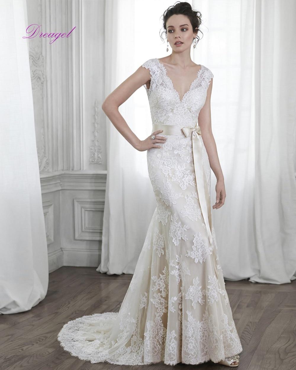 dreagel new design style elegant princess wedding dress sexy v neck backless pretty nifty sashes