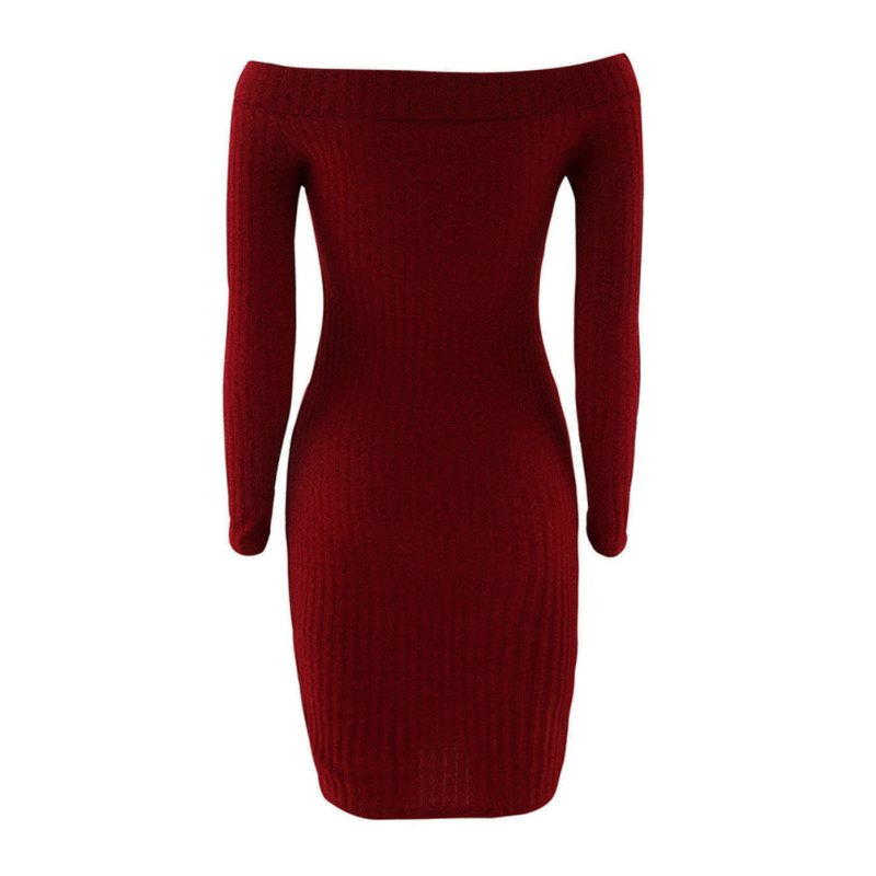 Fashion Long Sleeve Off Shoulder Sexy Party Dress Autumn Winter Women Slim Bodycon Knitted Sweater Night