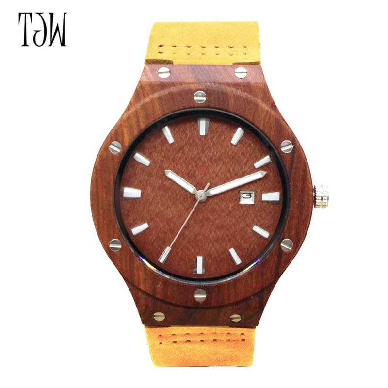 Quartz Wrist Watch  Relogio Feminino  Wooden Watch  Quartz Watches  TJW    Bamboo Wooden Watch  Top Brand Luxury  Date Display  Zebra Wood1