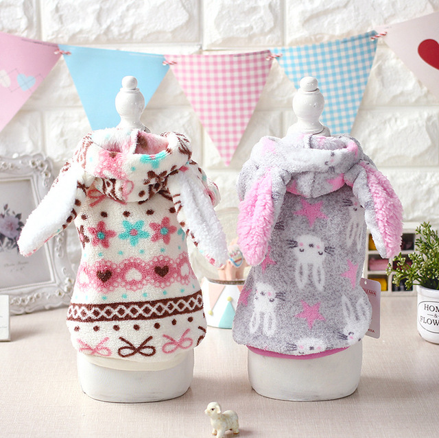Cute Big ear Halloween Dog puppy rabbit costume clothing winter warm fleece small dog pet cat Coat jacket chihuahua dog clothes