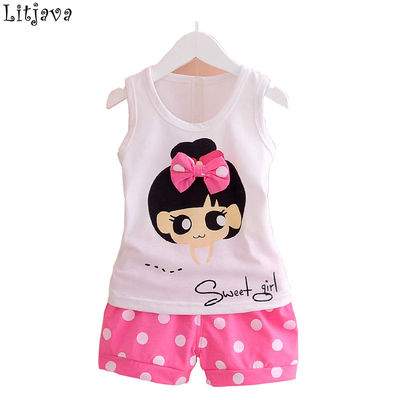 0-2Y Lolita Baby Cloth Set for Girls Photography Kids Sleeveless Tops+ Short Pant 2Pcs Sport Suits Princess Party Coat Female ...