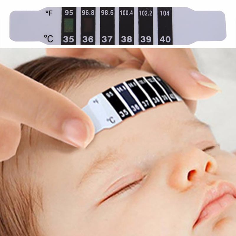 10Pcs Baby Kids Forehead Strip Head Thermometer Fever Body Temperature Test Safe