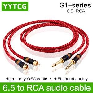 YYTCG 1 par Hifi 6.35mm para RCA Cabo de Alta Qualidade 4N OFC Dupla 6.35mm Macho para Dual RCA Macho Áudio cabo