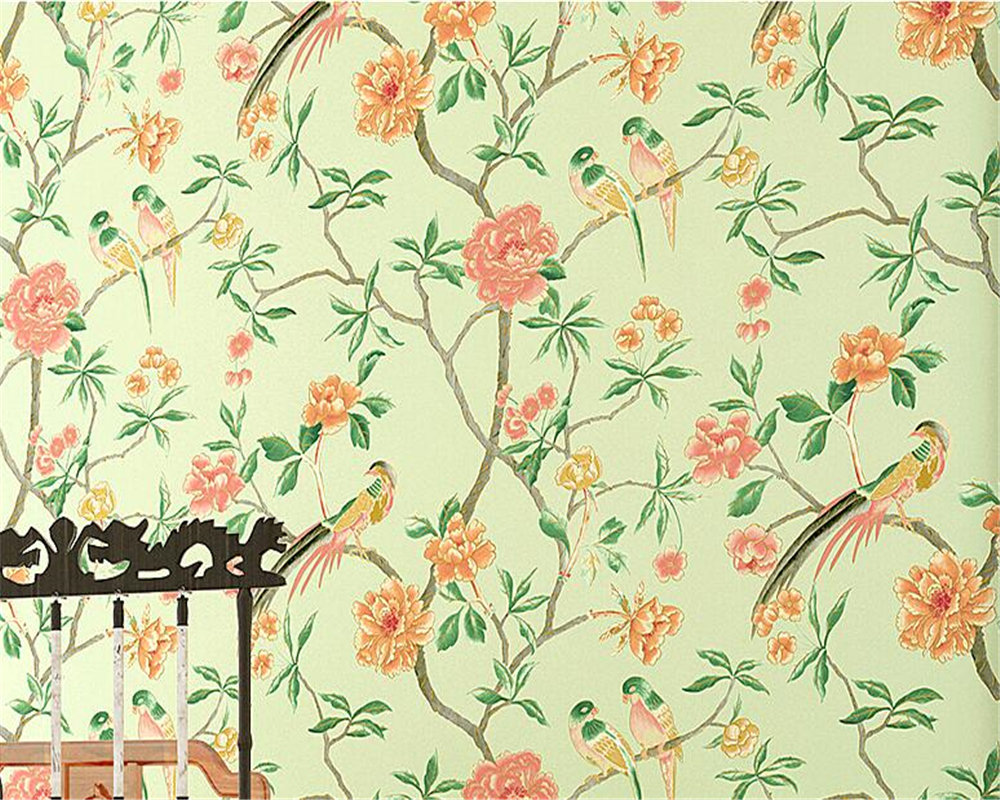 Beibehang Modern style flowers and birds 3D wallpaper living room background Classical yellow / blue flowers birds 3D wallpaper the hermitage birds and flowers