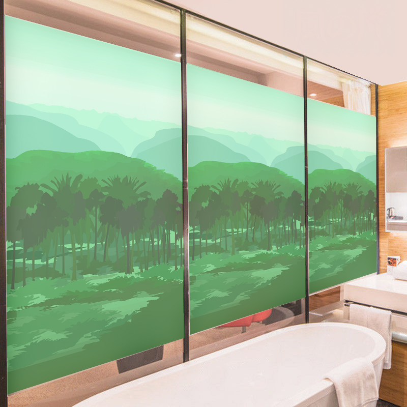 Mountain Transparent Self Adhesive Film Scenery Film Window Sliding