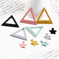 Wholesale 100PCs Enamel Alloy Triangle Pendant Charms Cute Small Stars DIY Jewelry Findings Ornament Accessories Bracelet Charm
