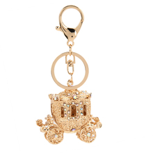 keychain Fairy tale Golden Pumpkin carriage charm Rhinestone keychain keyring  ring holder women bag crystal Fashion jewelry DM#