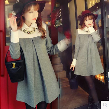 New Arrival Maternity Clothing Autumn and Winter Turtleneck Wool Blends Fashion One-Piece Dress for Pregnant Women Dresses