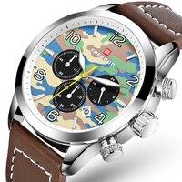 Армейские камуфляжные мужские s часы лучший бренд роскошный кожаный Хронограф Мужские наручные часы Часы мужские водонепроницаемые мужски