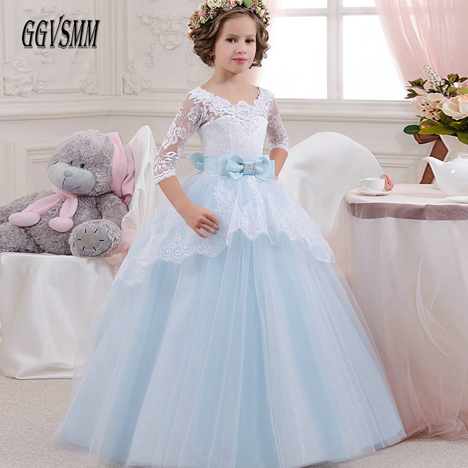 Princess Blue Lace   Flower     Girl     Dresses   2018 Evening Party Tulle   Girls   Pageant   Dresses   First Communion   Dresses   Kids Evening Gowns
