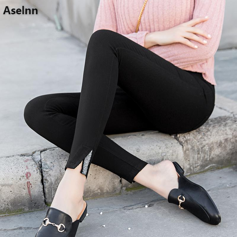 Aselnn 2019 Spring Women Pencil Pants Fashion Slit Webbing Splicing Elastic Waist Thin Trousers Female Skinny Plus Size Pants