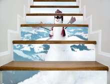 6pcs/set 18cm x 100cm Snowman on the top of the Mountain Pattern Style Stair Sticker Wall Decor LTT078(China)