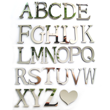 2019 new acrylic sticker love characters letters home decoration english 3d mirror wall stickers alphabet logo