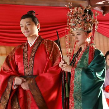 Couple Costume Ancient Chinese Wedding Hanfu Sets for Bride and Groom for Newest TV Play The Story of MingLan Zhao LiYing Design