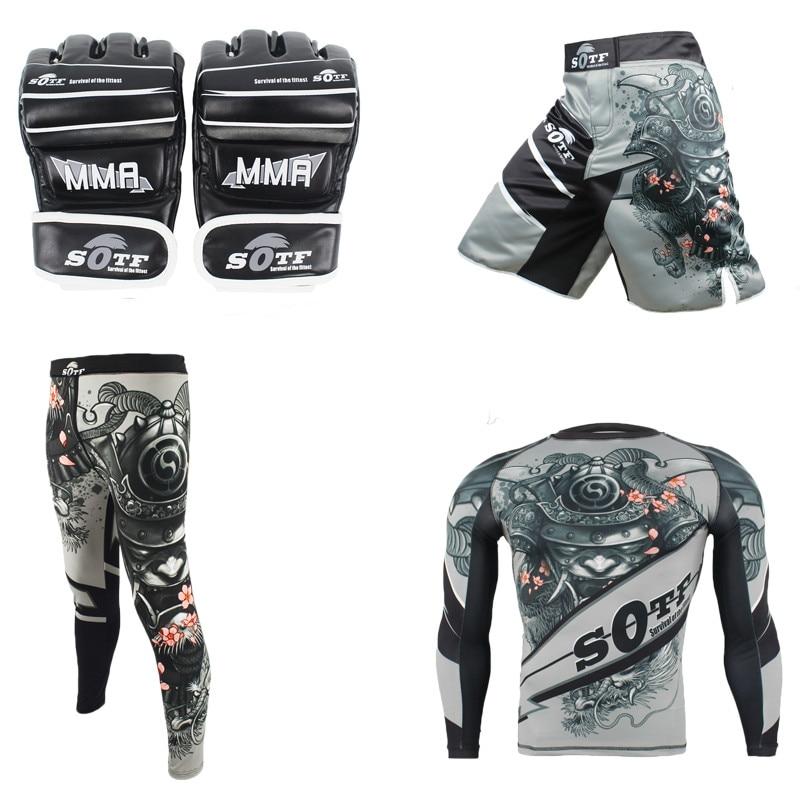 SUOTF MMA Rashguard maillot de sport de boxe + pantalon + malle + gants de combat Fitness élastique