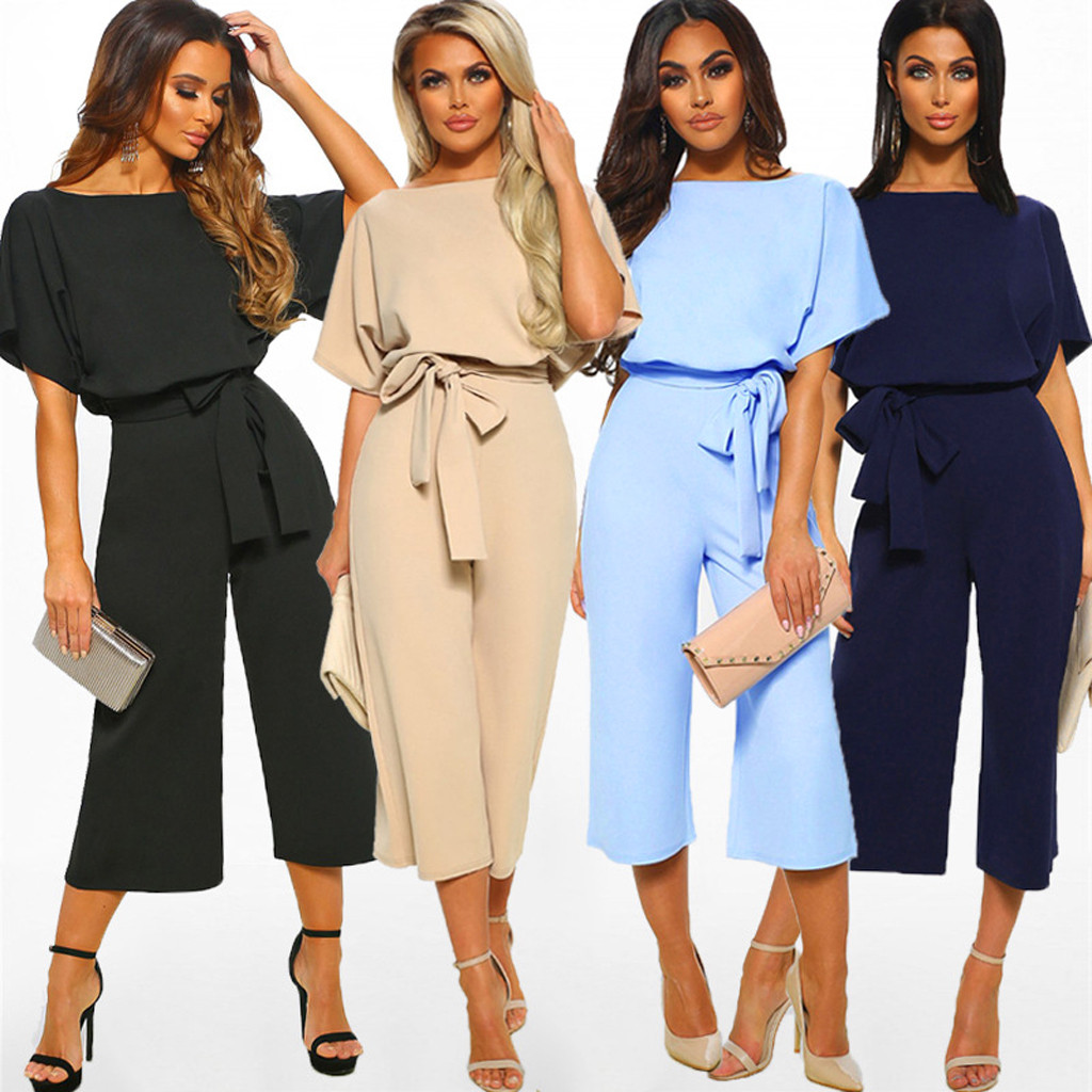 Short Sleeve Playsuit solid color   jumpsuit   Round neck Clubwear Straight Leg   Jumpsuit   With Belt Trousers combinaison femme#30