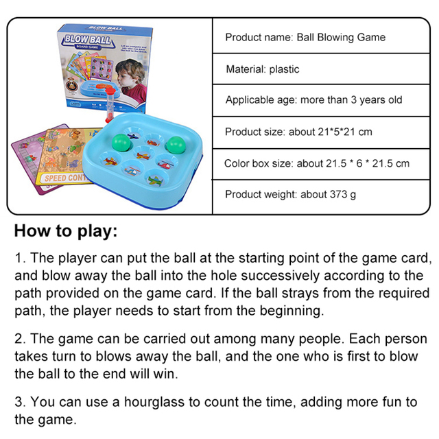 Blow Ball Board Games for Kids Children Memory Training Puzzle Game Child Table Game