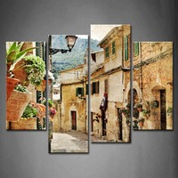 4 Panels Unframed Wall Art Picture Streets Towns Street Lamp Canvas Print Modern Vintage Poster No Frame For Living Room