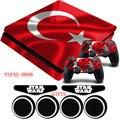 Turquía bandera nacional etiqueta engomada ps4 slim piel calcomanía de vinilo antideslizante y 2 xcontroller pegatinas + regalos para playstation 4 slim consola