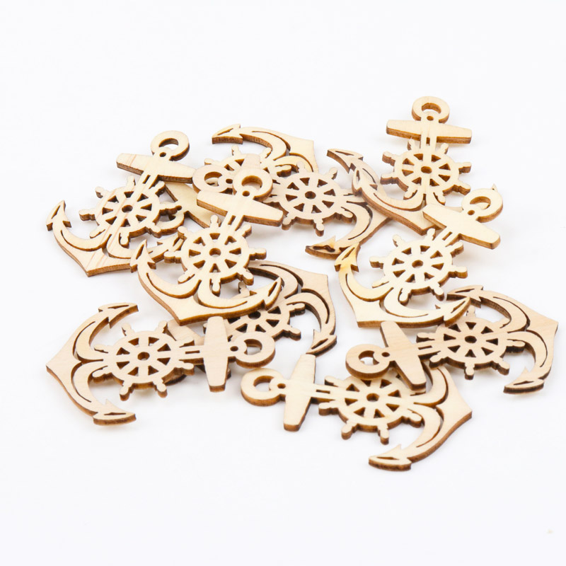 20pcs Natural Wood Anchor Wooden Scrapbooking Carft one Hole Hanging Home decoration Craft Accessories 36x49mm MT0873