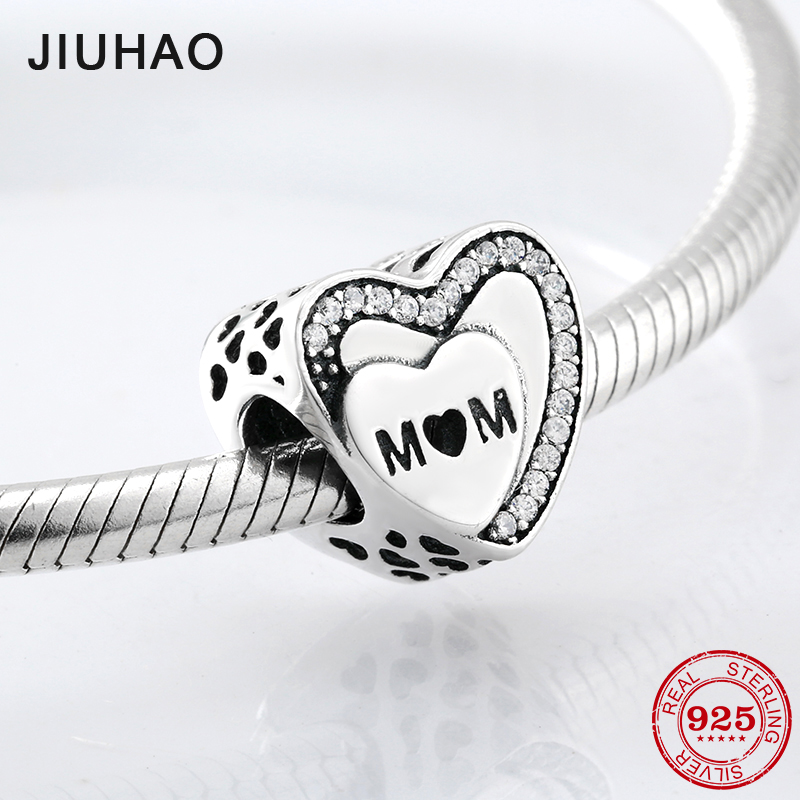 Mothers Day gift 925 Sterling Silve heart shape MOM beads Fit Original Pandora Charm Bracelet Jewelry making