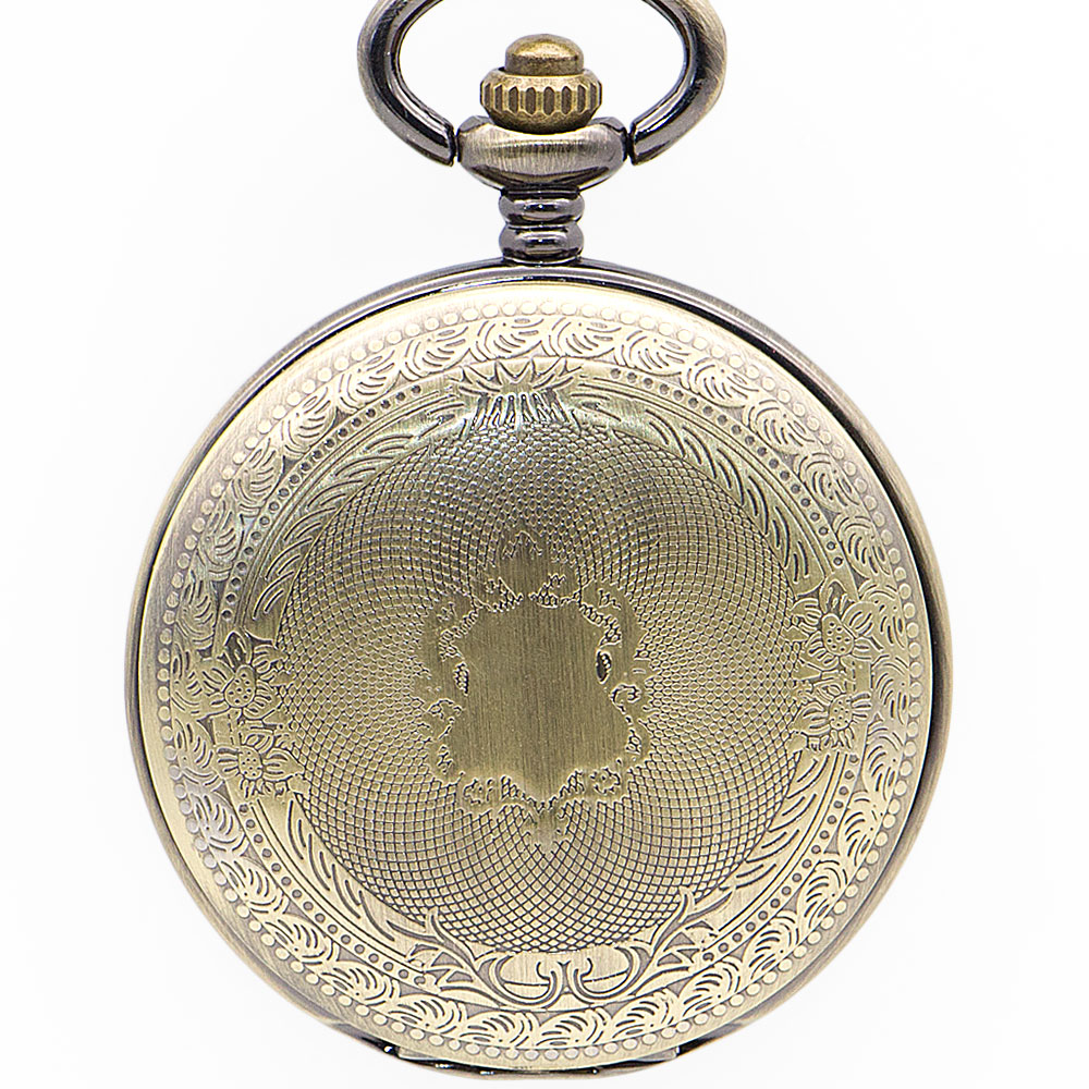 Fashion Pattern Carving Mechanical Pocket Watch Bronze Color Men Women Stylish Retro FOB Hand Wind Double Open Pocket Watches