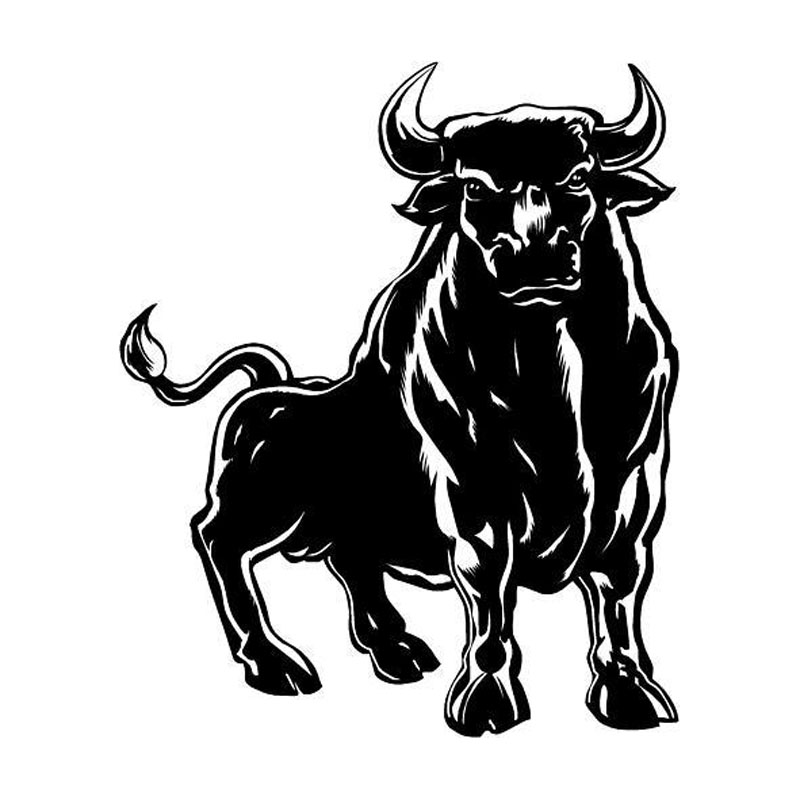 15.4*18.6CM Spanish Bull Mighty Styling Vinyl Cool Car Sticker Car Body Decals Accessories Black/Silver C9-1603