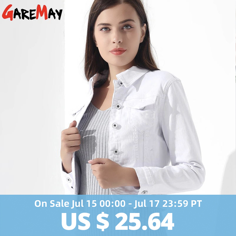 GAREMAY Basic Jeans Jacket Women White Spring Woman Denim Denim Womens Coats And Jackets Jean Slim Short Coat Jacket  Feminina(China)