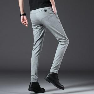 Image 3 - Jantour 2020 Pantaloni Degli Uomini di Modo Slim Fit Primavera estate di Alta Qualità di Business Classico Piatto Pieno Lunghezza sottile Casual Pantaloni maschio
