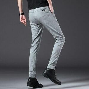 Image 3 - Jantour 2020 ファッション男性パンツスリムフィット春夏高品質ビジネスフラット全身薄型カジュアルズボン男性