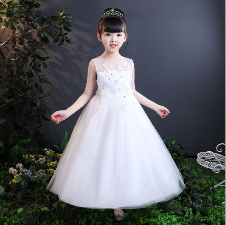 Girl Princess Dress Kids Girls Clothes Lace Sleeveless Children Wedding Party Dress Birthday Gifts Occasion 2018 New Summer new arrival kids dress for girls clothes bowknot sleeveless lace children dress wedding party flower girl dresses 3 colors