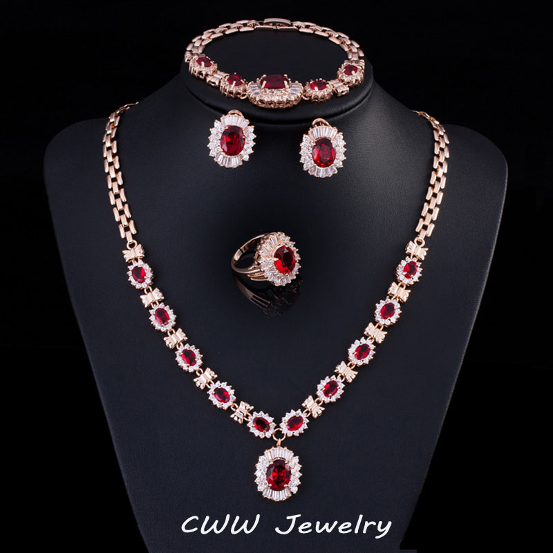 Cwwzircons Gold Color African Nigerian Cz Beads Party Jewelry Earrings Rings Necklaces And Bracelets 4 Pieces Set For Women T229 In Bridal Sets From