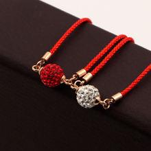Модные ювелирные изделия браслет из красного шнура с бусинами