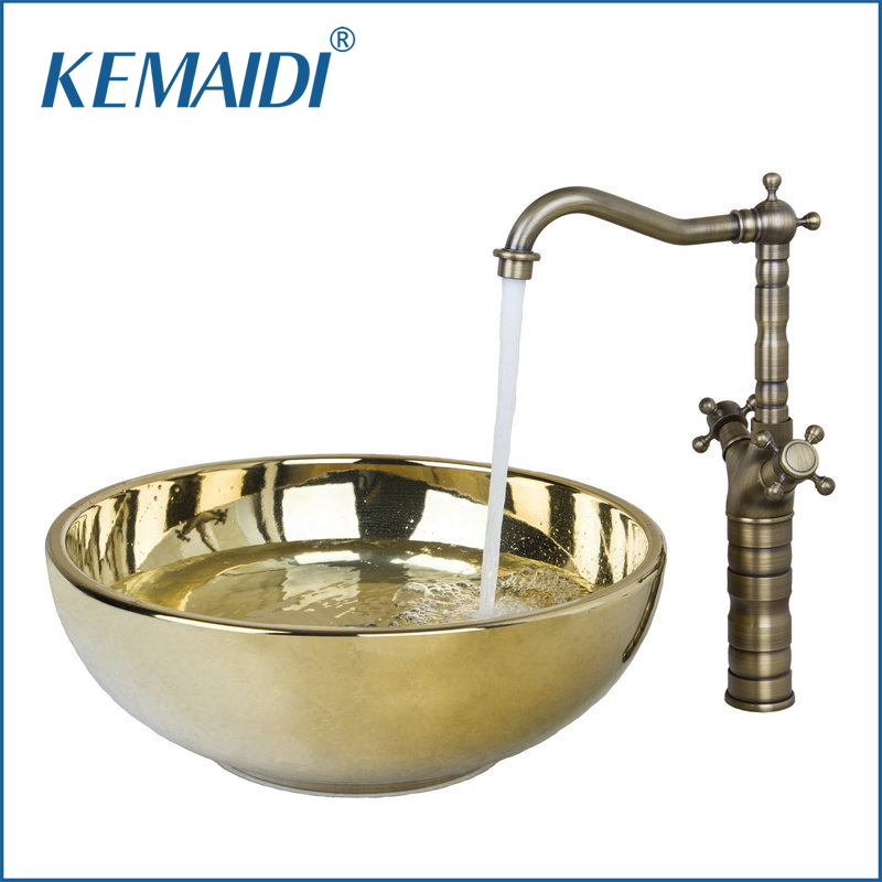 KEMAIDI Polished Golden Ceramic Wash Basin Vessel Sink With Antique Brass Bathroom Faucet Art Sink Set VD46028631 new vintage style antique brass bathroom vessel sink drain basin push down pop up drain with overflow solid brass 4310