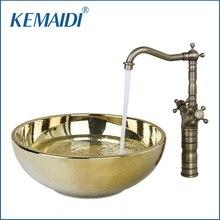 KEMAIDI Polished Golden Ceramic Wash Basin Vessel Sink With Antique Brass  Bathroom Faucet Art Sink Set VD46028631